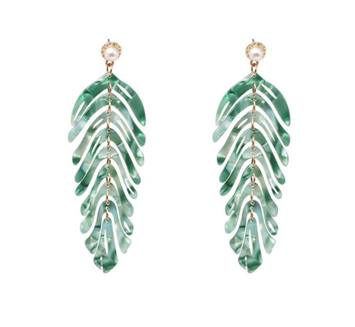 Green Leaf  Dangle Earrings