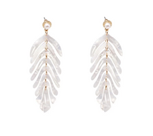 Load image into Gallery viewer, White Leaf  Dangle Earrings