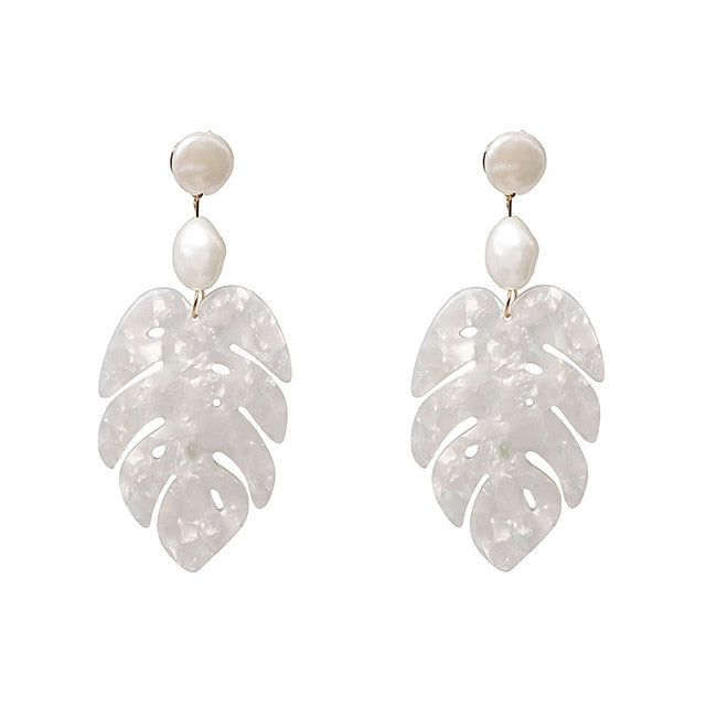 White Leaf  Dangle Earrings