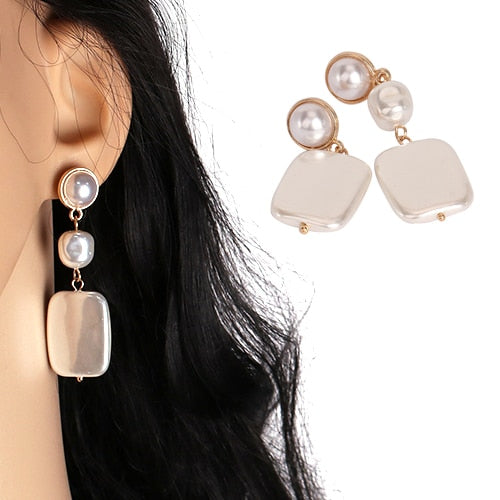 Geometric Pearl Drop Earring