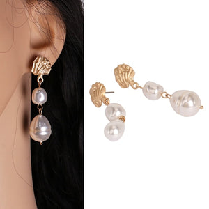 Double Pearl Drop Earring