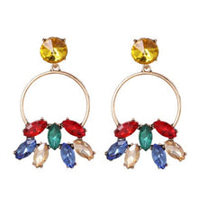 Load image into Gallery viewer, Multicolored Crystal Drop Earring with hoop