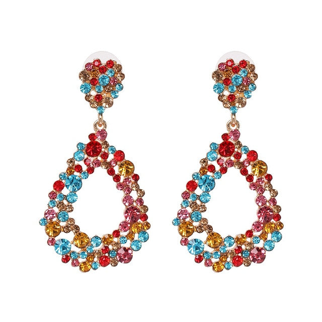 Multicolored Crystal Drop Earring