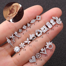 Load image into Gallery viewer, Silver Stud Square Earring