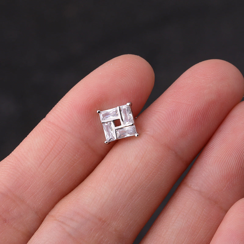 Silver Stud Square Earring
