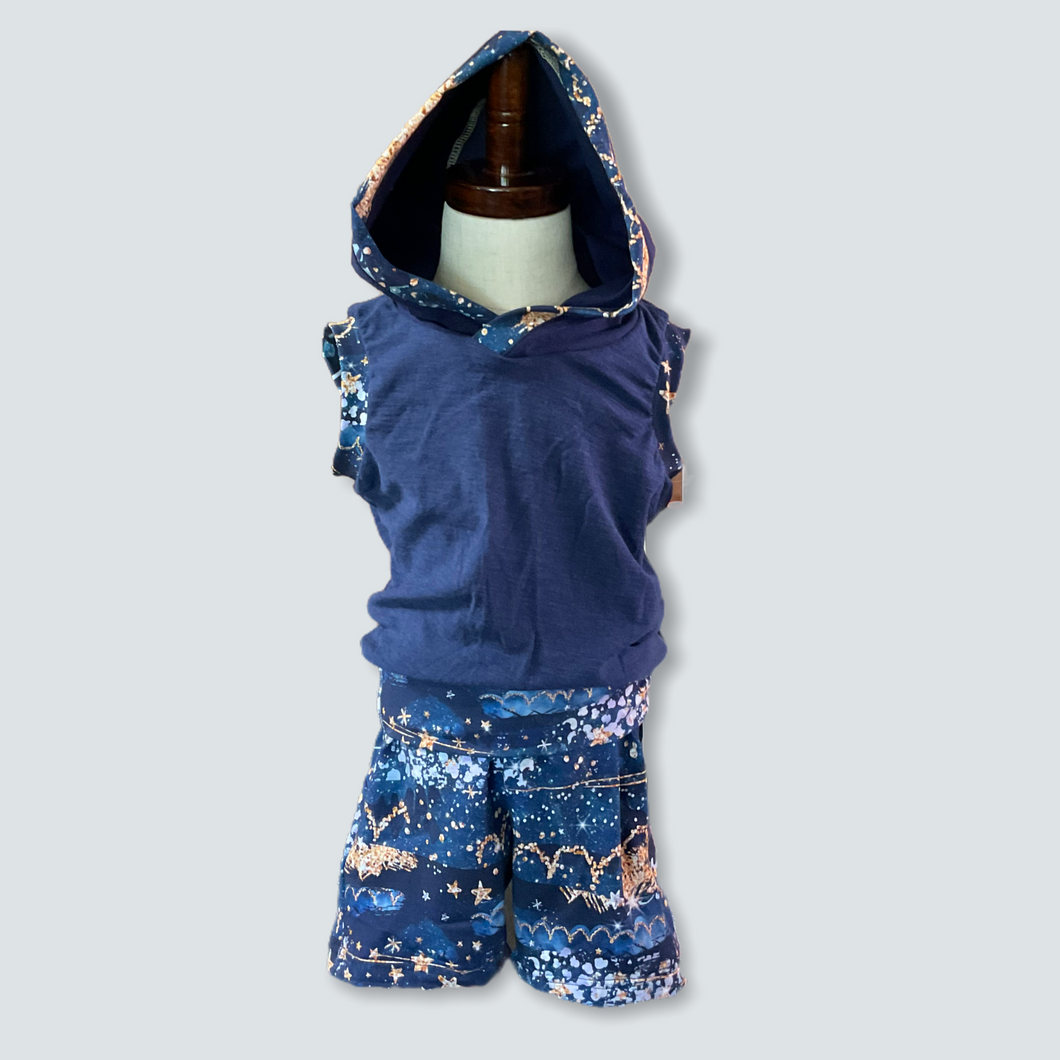 Blue Glitter Lounge Shorts and Hoodie Tank Set