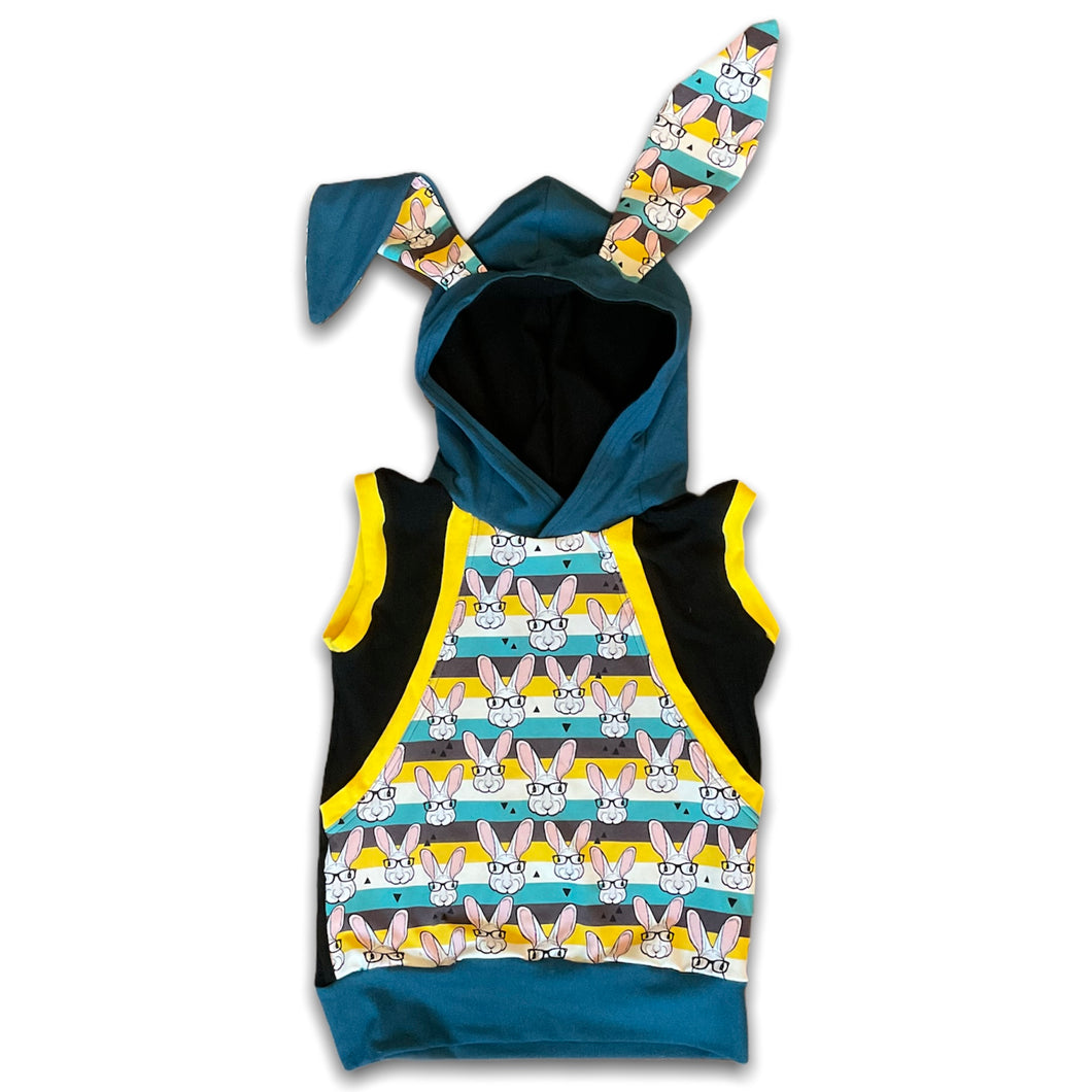 6-9YR Hipster Bunny Pass Through Pocket Hoodie Tank
