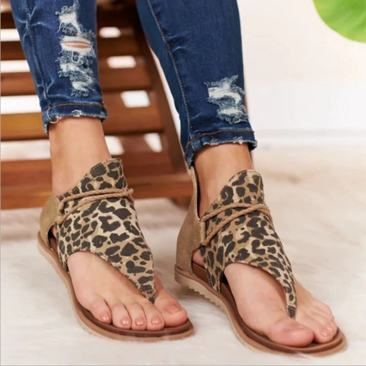 2020 European and American new large size leopard sandals【50%OFF】