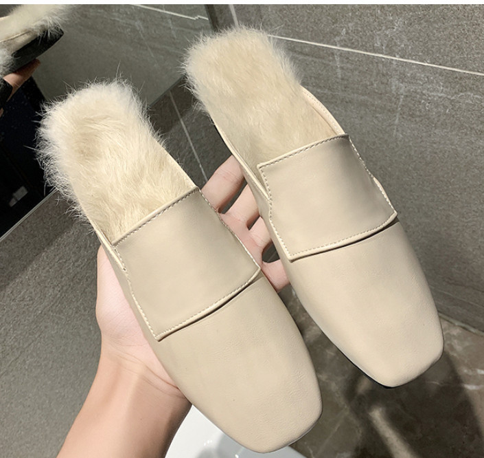 Fashion square flat flat hairy slippers【50%OFF】