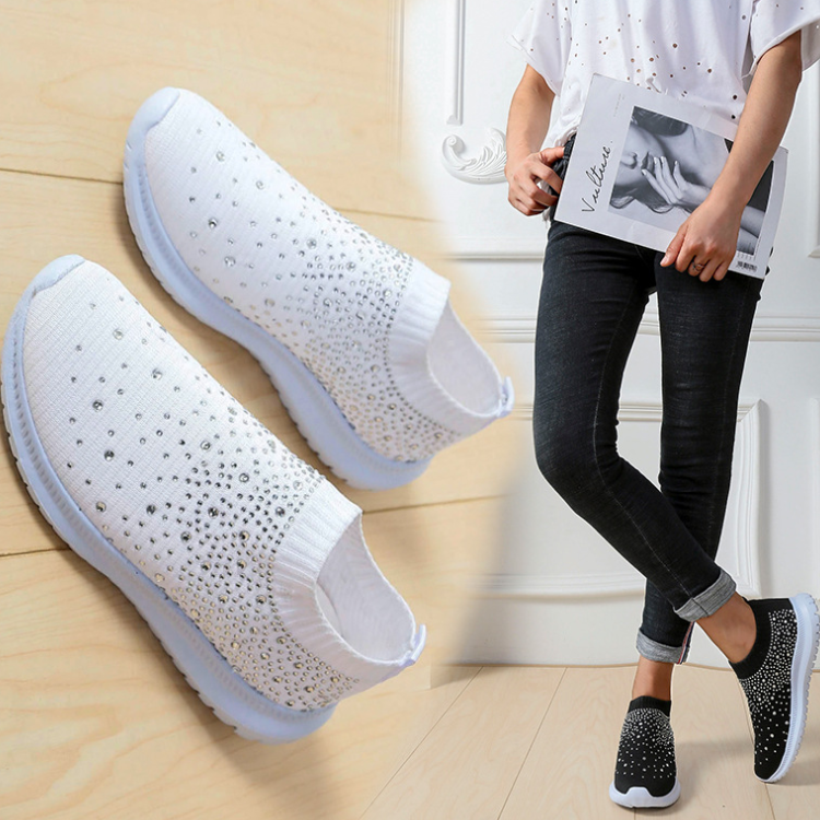 Fly-knit sneakers with diamonds-50%OFF