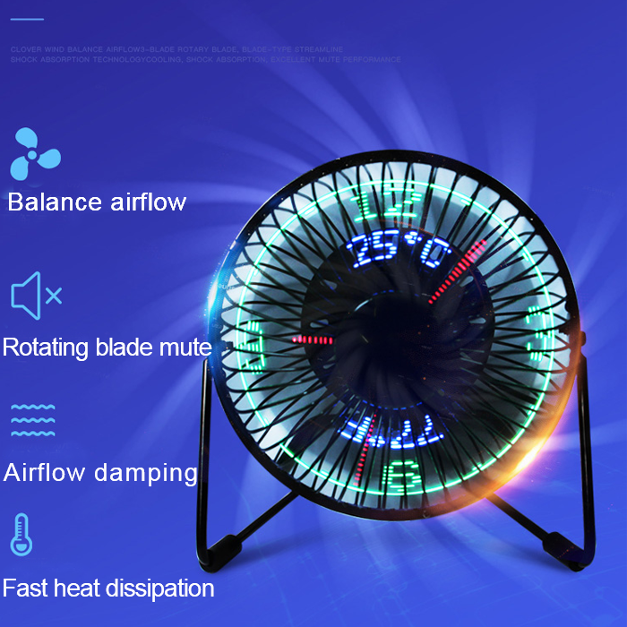 New USB led clock fan with temperature time