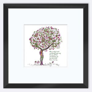 "OLIVE | Framed Print Framed TREES HAVE FEELINGS 8""x8"" print + 3.5"" mat Black"