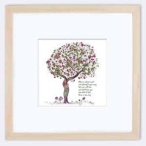 "OLIVE | Framed Print Framed TREES HAVE FEELINGS 8""x8"" print + 3.5"" mat Natural"