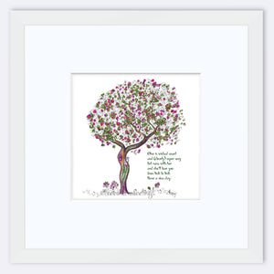 "OLIVE | Framed Print Framed TREES HAVE FEELINGS 8""x8"" print + 3.5"" mat White"