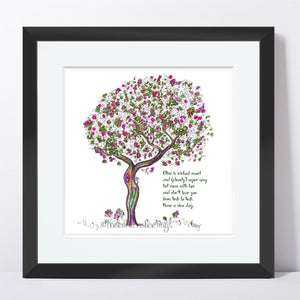"OLIVE | Framed Print Framed TREES HAVE FEELINGS 8""x8"" print + 1.5"" mat Black"