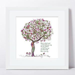 "OLIVE | Framed Print Framed TREES HAVE FEELINGS 8""x8"" print + 1.5"" mat White"