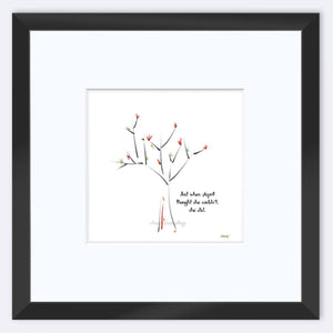 "APRIL | Framed Print Framed TREES HAVE FEELINGS 8""x8"" print + 3.5"" mat Black"
