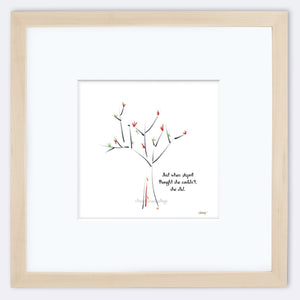 "APRIL | Framed Print Framed TREES HAVE FEELINGS 8""x8"" print + 3.5"" mat Natural"