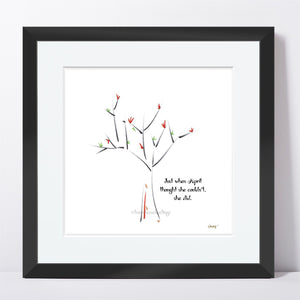 "APRIL | Framed Print Framed TREES HAVE FEELINGS 8""x8"" print + 1.5"" mat Black"