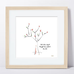 "APRIL | Framed Print Framed TREES HAVE FEELINGS 8""x8"" print + 1.5"" mat Natural"