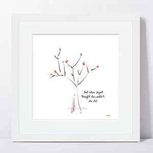 "APRIL | Framed Print Framed TREES HAVE FEELINGS 8""x8"" print + 1.5"" mat White"