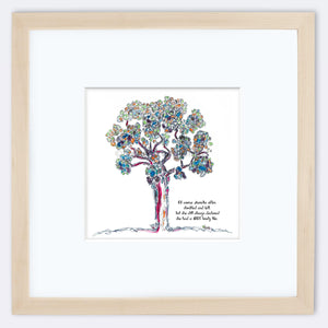 "AURELIA | Framed Print Framed TREES HAVE FEELINGS 8""x8"" print + 3.5"" mat Natural"