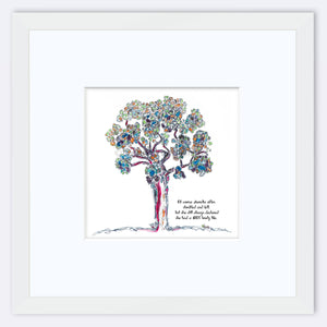 "AURELIA | Framed Print Framed TREES HAVE FEELINGS 8""x8"" print + 3.5"" mat White"