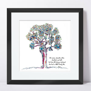 "AURELIA | Framed Print Framed TREES HAVE FEELINGS 8""x8"" print + 1.5"" mat Black"