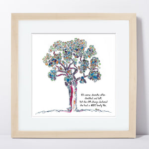 "AURELIA | Framed Print Framed TREES HAVE FEELINGS 8""x8"" print + 1.5"" mat Natural"