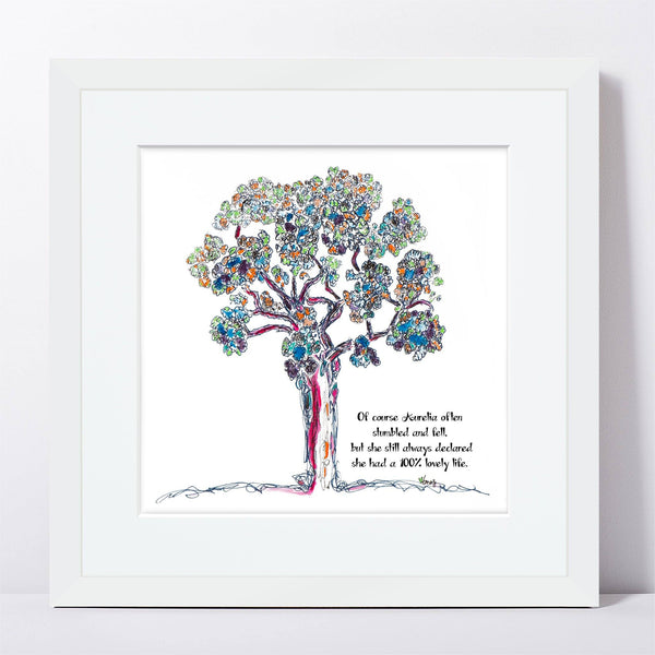 "AURELIA | Framed Print Framed TREES HAVE FEELINGS 8""x8"" print + 1.5"" mat White"