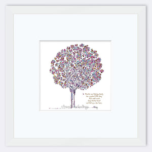 "BLANCHE | Framed Print Framed TREES HAVE FEELINGS 8""x8"" print + 3.5"" mat White"