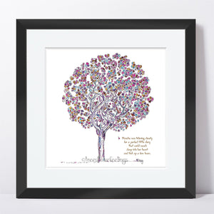 "BLANCHE | Framed Print Framed TREES HAVE FEELINGS 8""x8"" print + 1.5"" mat Black"