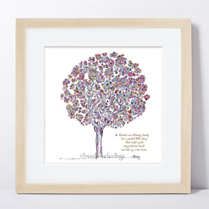 "BLANCHE | Framed Print Framed TREES HAVE FEELINGS 8""x8"" print + 1.5"" mat Natural"