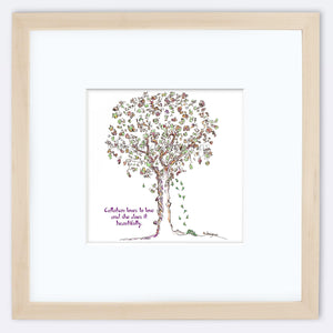 "CALLAHAN | Framed Print Framed TREES HAVE FEELINGS 8""x8"" print + 3.5"" mat Natural"