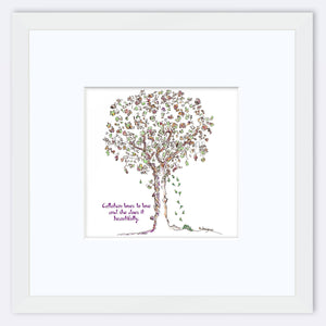 "CALLAHAN | Framed Print Framed TREES HAVE FEELINGS 8""x8"" print + 3.5"" mat White"