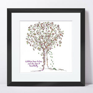 "CALLAHAN | Framed Print Framed TREES HAVE FEELINGS 8""x8"" print + 1.5"" mat Black"