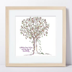 "CALLAHAN | Framed Print Framed TREES HAVE FEELINGS 8""x8"" print + 1.5"" mat Natural"
