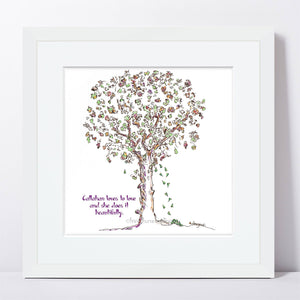 "CALLAHAN | Framed Print Framed TREES HAVE FEELINGS 8""x8"" print + 1.5"" mat White"