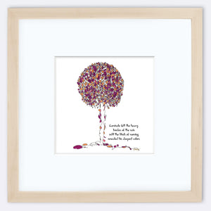 "CARNIVALE | Framed Print Framed TREES HAVE FEELINGS 8""x8"" print + 3.5"" mat Natural"