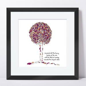 "CARNIVALE | Framed Print Framed TREES HAVE FEELINGS 8""x8"" print + 1.5"" mat Black"