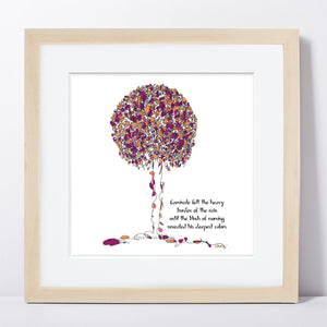 "CARNIVALE | Framed Print Framed TREES HAVE FEELINGS 8""x8"" print + 1.5"" mat Natural"