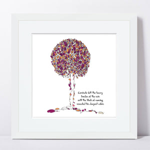"CARNIVALE | Framed Print Framed TREES HAVE FEELINGS 8""x8"" print + 1.5"" mat White"