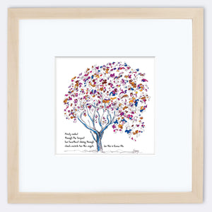 "EMMA BLU | Framed Print Framed TREES HAVE FEELINGS 8""x8"" print + 3.5"" mat Natural"