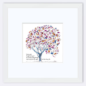 "EMMA BLU | Framed Print Framed TREES HAVE FEELINGS 8""x8"" print + 3.5"" mat White"