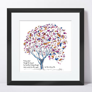 "EMMA BLU | Framed Print Framed TREES HAVE FEELINGS 8""x8"" print + 1.5"" mat Black"