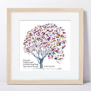 "EMMA BLU | Framed Print Framed TREES HAVE FEELINGS 8""x8"" print + 1.5"" mat Natural"