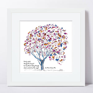 "EMMA BLU | Framed Print Framed TREES HAVE FEELINGS 8""x8"" print + 1.5"" mat White"