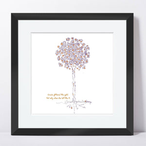 "GRACIE | Framed Print Framed TREES HAVE FEELINGS 8""x8"" print + 1.5"" mat Black"