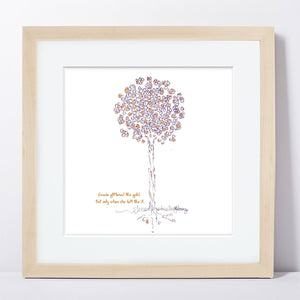 "GRACIE | Framed Print Framed TREES HAVE FEELINGS 8""x8"" print + 1.5"" mat Natural"