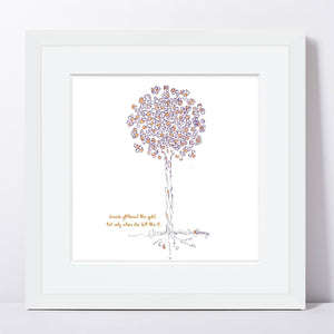 "GRACIE | Framed Print Framed TREES HAVE FEELINGS 8""x8"" print + 1.5"" mat White"